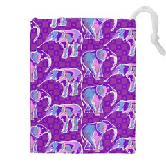 Cute Violet Elephants Pattern Drawstring Pouches (xxl) by DanaeStudio