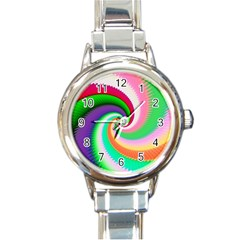 Colorful Spiral Dragon Scales   Round Italian Charm Watch by designworld65