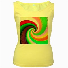Colorful Spiral Dragon Scales   Women s Yellow Tank Top
