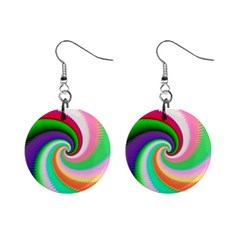 Colorful Spiral Dragon Scales   Mini Button Earrings by designworld65