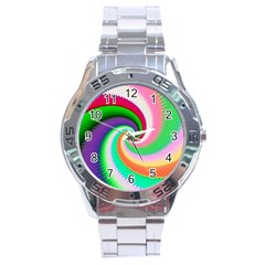 Colorful Spiral Dragon Scales   Stainless Steel Analogue Watch by designworld65