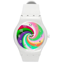 Colorful Spiral Dragon Scales   Round Plastic Sport Watch (M)