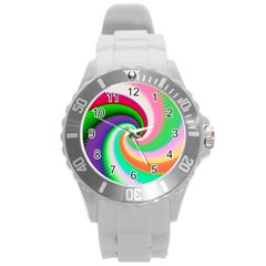Colorful Spiral Dragon Scales   Round Plastic Sport Watch (l) by designworld65