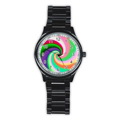 Colorful Spiral Dragon Scales   Stainless Steel Round Watch by designworld65