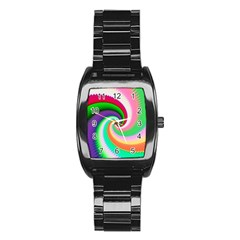 Colorful Spiral Dragon Scales   Stainless Steel Barrel Watch