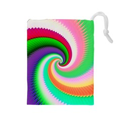 Colorful Spiral Dragon Scales   Drawstring Pouches (large)  by designworld65