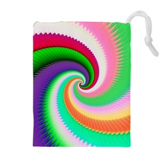 Colorful Spiral Dragon Scales   Drawstring Pouches (Extra Large)