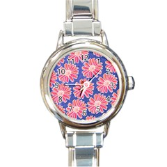 Pink Daisy Pattern Round Italian Charm Watch by DanaeStudio