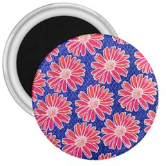 Pink Daisy Pattern 3  Magnets by DanaeStudio
