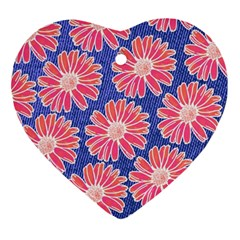 Pink Daisy Pattern Ornament (heart)  by DanaeStudio