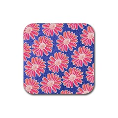 Pink Daisy Pattern Rubber Square Coaster (4 Pack)  by DanaeStudio