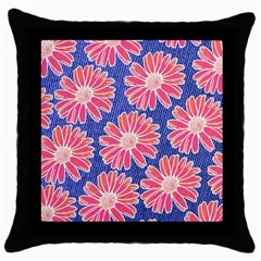 Pink Daisy Pattern Throw Pillow Case (black) by DanaeStudio