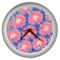 Pink Daisy Pattern Wall Clocks (silver)  by DanaeStudio