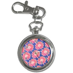 Pink Daisy Pattern Key Chain Watches by DanaeStudio