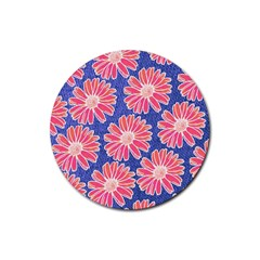 Pink Daisy Pattern Rubber Round Coaster (4 Pack)  by DanaeStudio