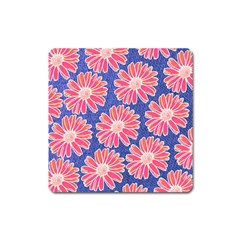 Pink Daisy Pattern Square Magnet by DanaeStudio