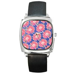 Pink Daisy Pattern Square Metal Watch by DanaeStudio