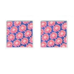 Pink Daisy Pattern Cufflinks (square) by DanaeStudio