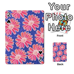 Pink Daisy Pattern Playing Cards 54 Designs  by DanaeStudio