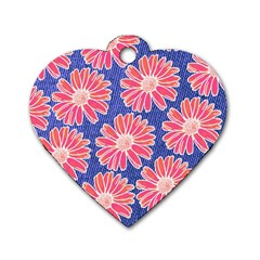 Pink Daisy Pattern Dog Tag Heart (two Sides) by DanaeStudio