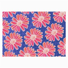 Pink Daisy Pattern Large Glasses Cloth (2 Side) by DanaeStudio