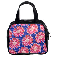 Pink Daisy Pattern Classic Handbags (2 Sides) by DanaeStudio
