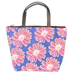 Pink Daisy Pattern Bucket Bags by DanaeStudio