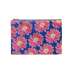 Pink Daisy Pattern Cosmetic Bag (medium)  by DanaeStudio