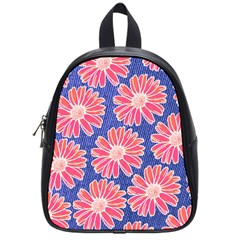 Pink Daisy Pattern School Bags (small)  by DanaeStudio