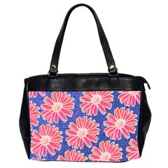 Pink Daisy Pattern Office Handbags (2 Sides)  by DanaeStudio