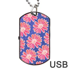 Pink Daisy Pattern Dog Tag Usb Flash (one Side) by DanaeStudio