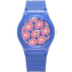 Pink Daisy Pattern Round Plastic Sport Watch (s) by DanaeStudio