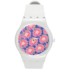 Pink Daisy Pattern Round Plastic Sport Watch (m) by DanaeStudio