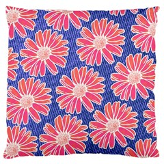 Pink Daisy Pattern Large Cushion Case (two Sides) by DanaeStudio