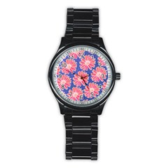 Pink Daisy Pattern Stainless Steel Round Watch by DanaeStudio