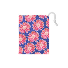 Pink Daisy Pattern Drawstring Pouches (small)  by DanaeStudio