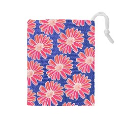 Pink Daisy Pattern Drawstring Pouches (large)  by DanaeStudio