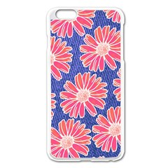 Pink Daisy Pattern Apple Iphone 6 Plus/6s Plus Enamel White Case by DanaeStudio