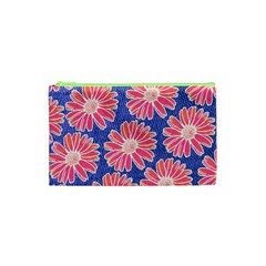 Pink Daisy Pattern Cosmetic Bag (xs) by DanaeStudio