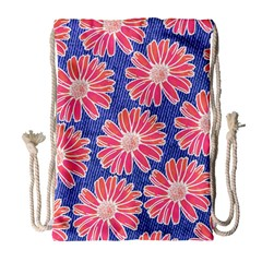 Pink Daisy Pattern Drawstring Bag (large) by DanaeStudio
