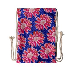 Pink Daisy Pattern Drawstring Bag (small) by DanaeStudio