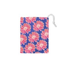 Pink Daisy Pattern Drawstring Pouches (xs)  by DanaeStudio
