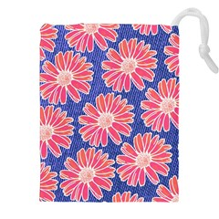 Pink Daisy Pattern Drawstring Pouches (xxl) by DanaeStudio