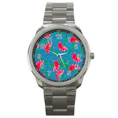 Carnations Sport Metal Watch by DanaeStudio