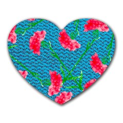 Carnations Heart Mousepads by DanaeStudio