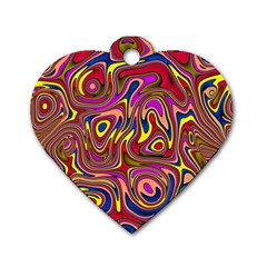 Abstract Shimmering Multicolor Swirly Dog Tag Heart (one Side) by designworld65