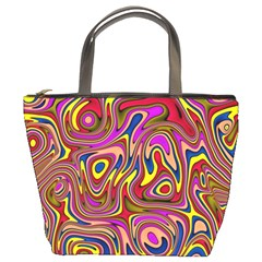 Abstract Shimmering Multicolor Swirly Bucket Bags by designworld65