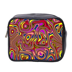 Abstract Shimmering Multicolor Swirly Mini Toiletries Bag 2 Side by designworld65