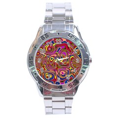 Abstract Shimmering Multicolor Swirly Stainless Steel Analogue Watch by designworld65