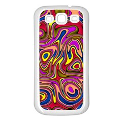 Abstract Shimmering Multicolor Swirly Samsung Galaxy S3 Back Case (white) by designworld65